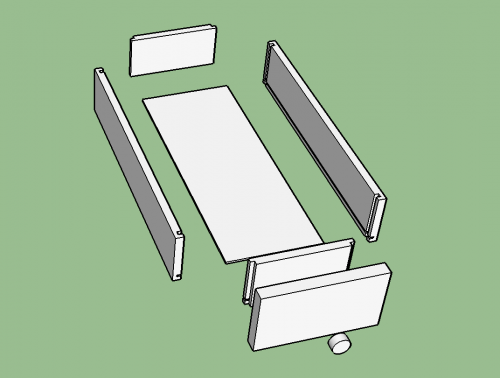 Exploded SketchUp Model of a drawer from a Midcentury Modern Side Table with two drawers and a shelf