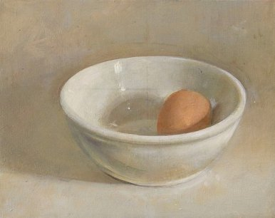 Christopher Gallego, Egg and White Bowl, 2006, Oil on wood panel, 6 x 7 in.
