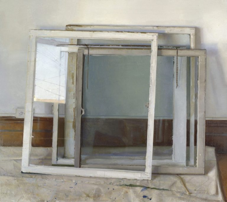 Christopher Gallego:Window Panes, 2000-2002, Oil on canvas, 48 x 54 inhttps://www.chrisgallego.com/how-to-paint-when-its-the-last-thing-in-the-world-you-feel-like-doing/