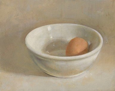 Christopher Gallego: Egg and White Bowl, 2008, oil on wood panel, 6 x 7 in.