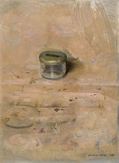 Christopher Gallego: Small Studio Jar, 2008, oil on board, 8 x 13 in