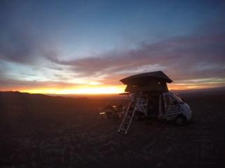 The sun setting over the Salar de Atacama