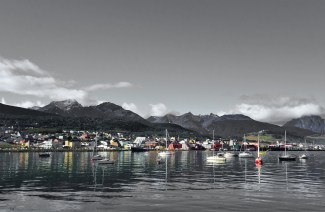 The view back across the harbour, Ushuaia