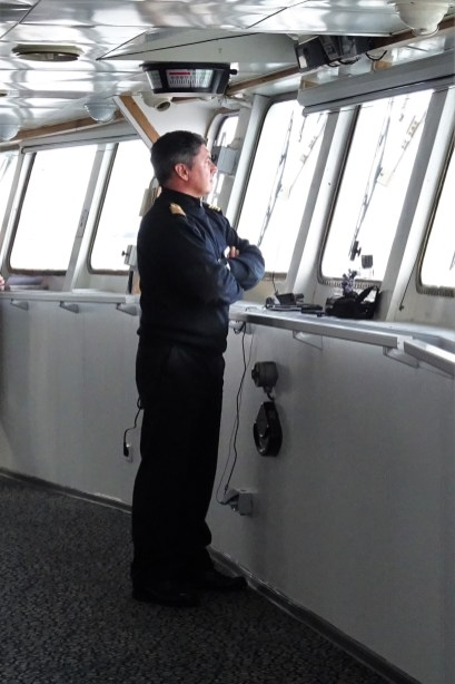 The Captain of the Ortelius navigating us through the Lemaire Channel