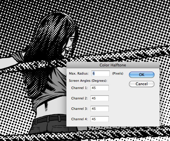 Color Halftone settings and the end result.