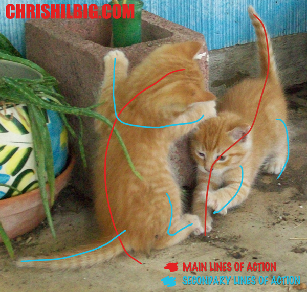 Kittens with their main and secondary lines of action marked out.