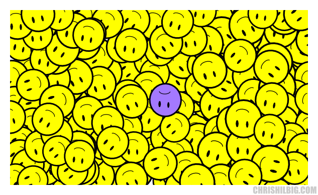 Purple sad-face in a sea of smilies