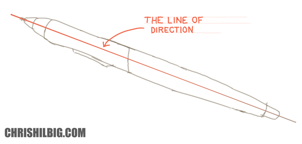 A drawing of the stylus example showing the line of direction and central axis