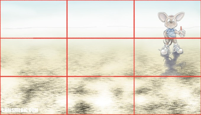 Drawing of a mouse out in the desert using the rule of thirds.