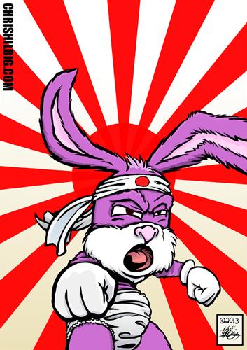 A bunny warrior infront of a Japanese war flag