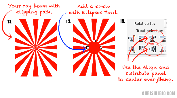 13.) The ray bean within a clipping path. 14.) Create a new circle. 15.) Center the circle using the Align and Distribute panel.