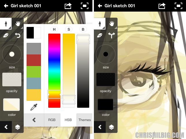Screen shots of Adobe Ideas app from my iPod Touch.