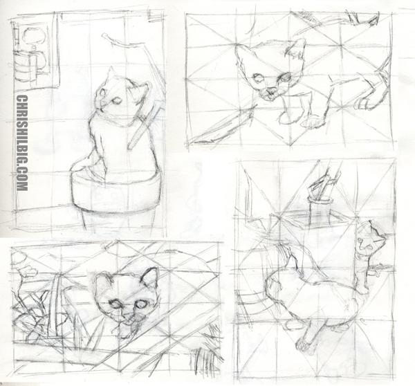 thumbnail sketches of kitten photos.