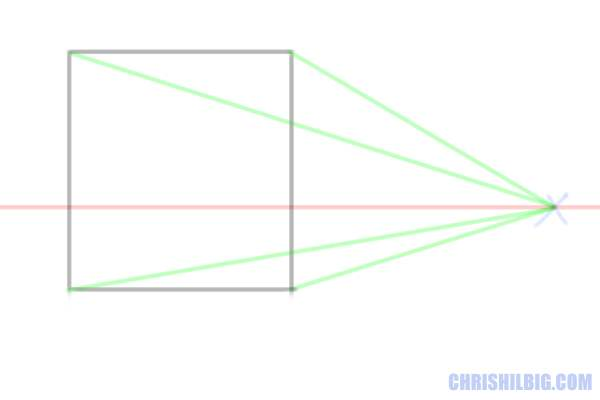 Step 3: Draw your vanishing lines from your vanishing point to the corners of your square. These lines will help you construct your cube.