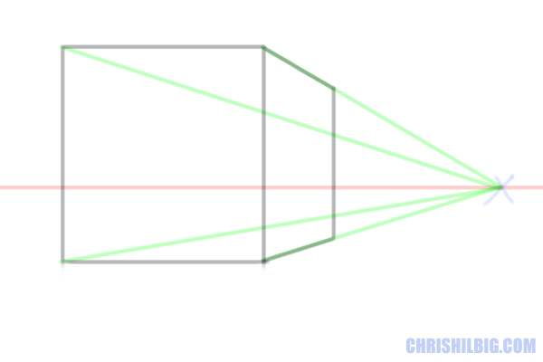 Step 5: Draw a vertical line somewhere between the two vanishing lines that connect to the points on the right-side of the square.