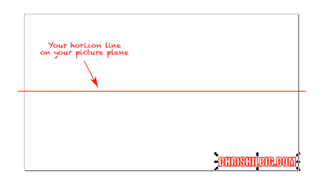 A demonstration of a horizon line on a picture plane.