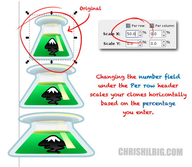 Changing the number field under thePer rowheader scales your clones horizontally based on the percentage you enter.