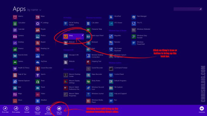 """How to bring up Gimp's alias in Windows 8.1. Do so by right-clicking on Gimp's button in Windows. Then Click on """"Open File Location"""" in the task bar."""