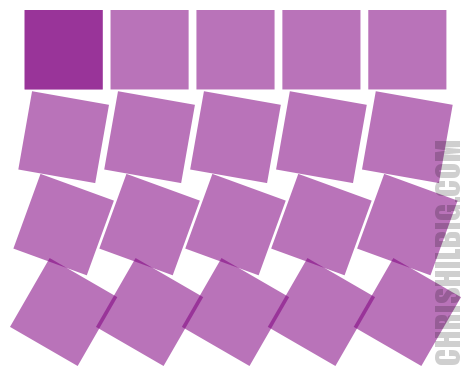 Squares rotated by 10 degrees Per Row via the Create tiled clones window.