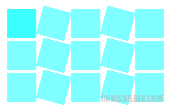 Squares rotated by 15 degrees per column, with alternate checked.
