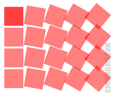 Squares rotated with the Create Tiled Clones window using 10 degree turn per column