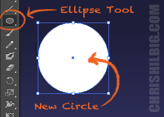 A screenshot of ellipse tool creating a new circle