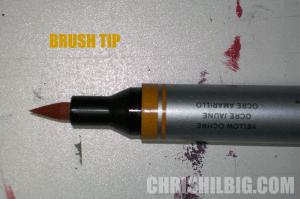 brush tip of watercolor marker