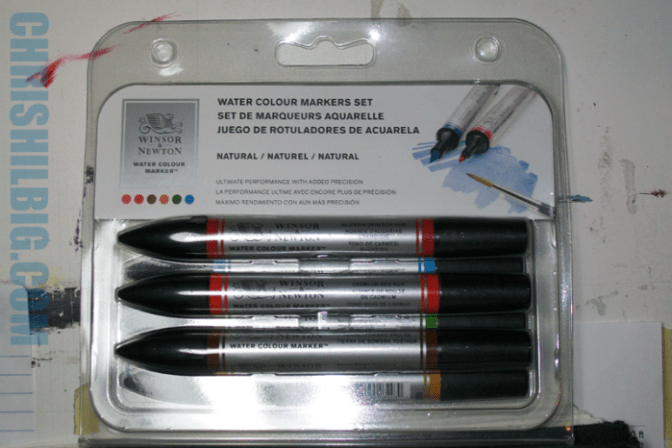 Photo of front of Winsor & Newton watercolor markers 6-pack from Michael's Arts and Crafts store int the USA
