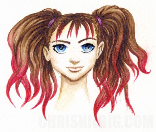 Sample watercolor of manga girl