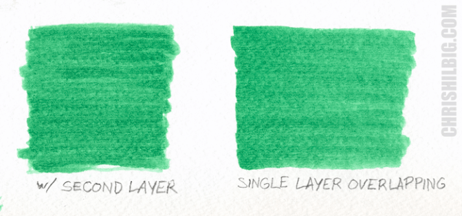A comparison of flat areas of color using a single and double layers of color