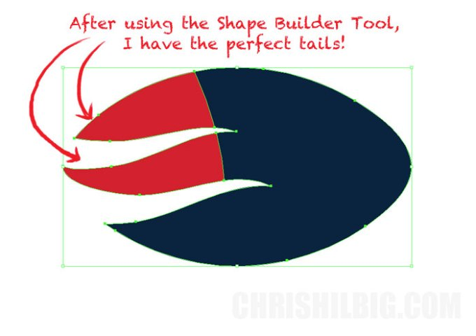 Now the tails of my football are mainly red after using the shape builder tool