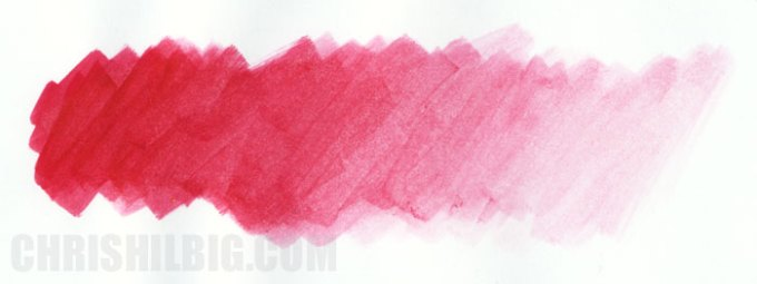 gradation of Carmine using Winsor & Newton Pigment Marker's Colourless Blender on marker paper