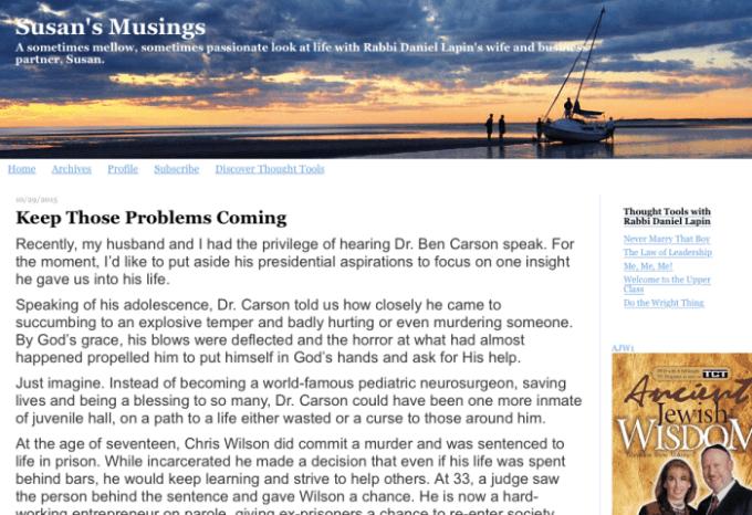 Screen shot of Susan Lapin's blog