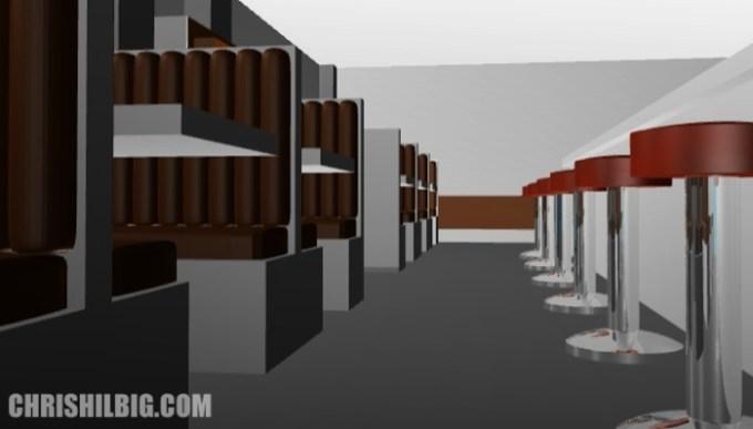 An old render of a restaurant done in Blender 3D