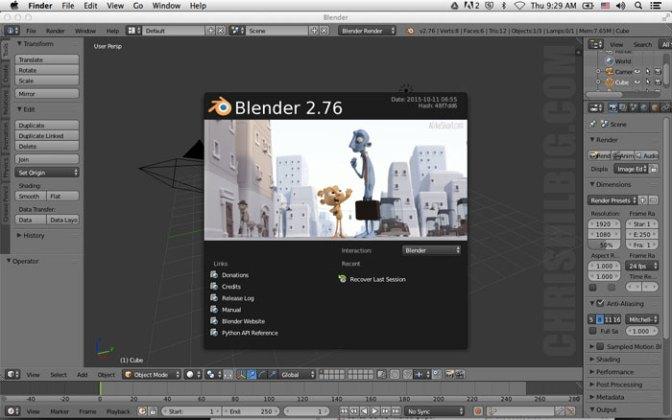 Blender 3D at start up