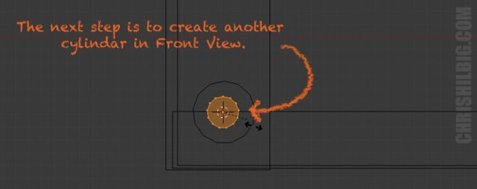 Create a new cylinder in front view
