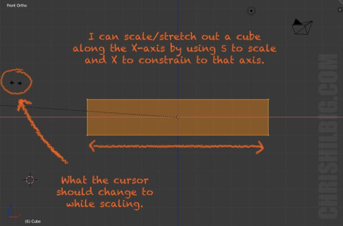 scaling a cube along the X-axis in Blender.