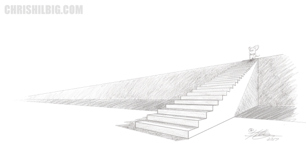 The final fluht of stairs, cleaned up and finished in pencil. Morty stands at the top.