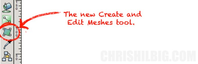 The location of the Create and Edit Meshes tool within Inkscape