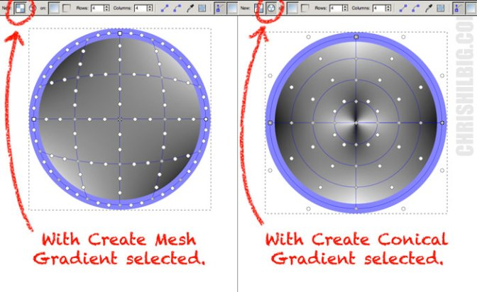 a sphere with a conical mesh applied and a sphere with a standard gradient mesh applied.