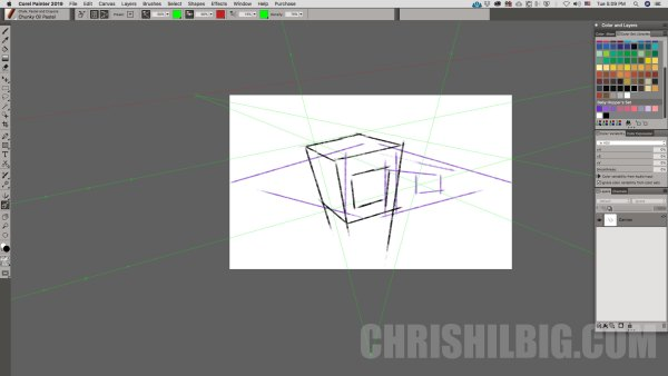 Perspective grid tool in Corel Painter 2019
