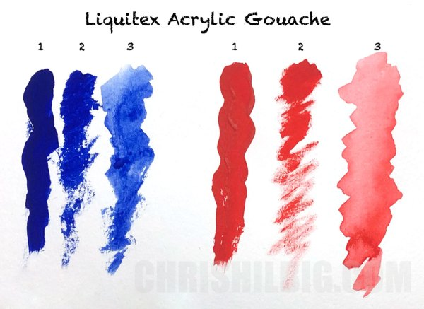 Sample strokes using Liquitex Acrylic Gouache.
