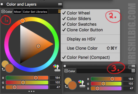 revised color pallets in Corel Painter 2020