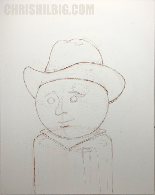 A rough sketch of a weeble cowboy in color pencil on canvas.