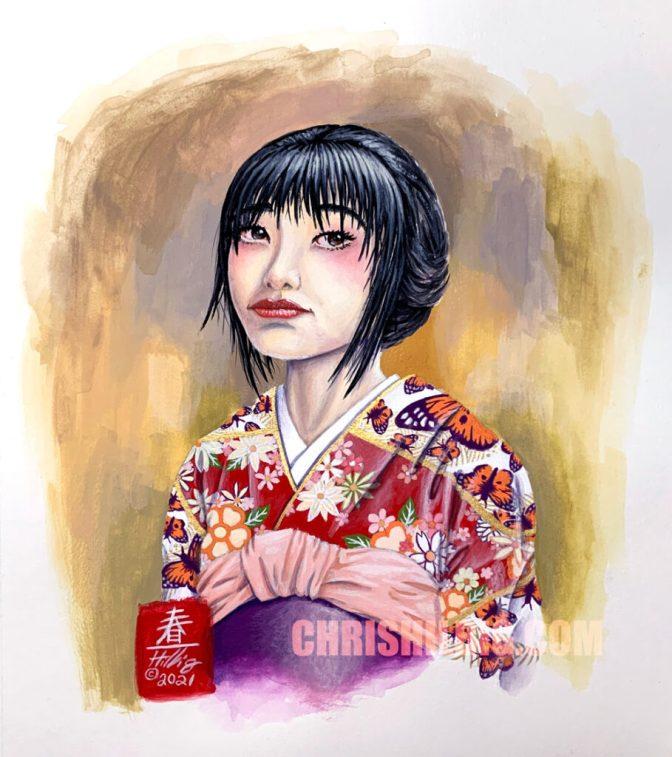 """Kimono Girl"" Copyright 2021 Chris Hilbig. Painted using Turner Acryl Gouache Japanesque Colours."
