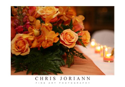 kate brian table floral arrangement w candles