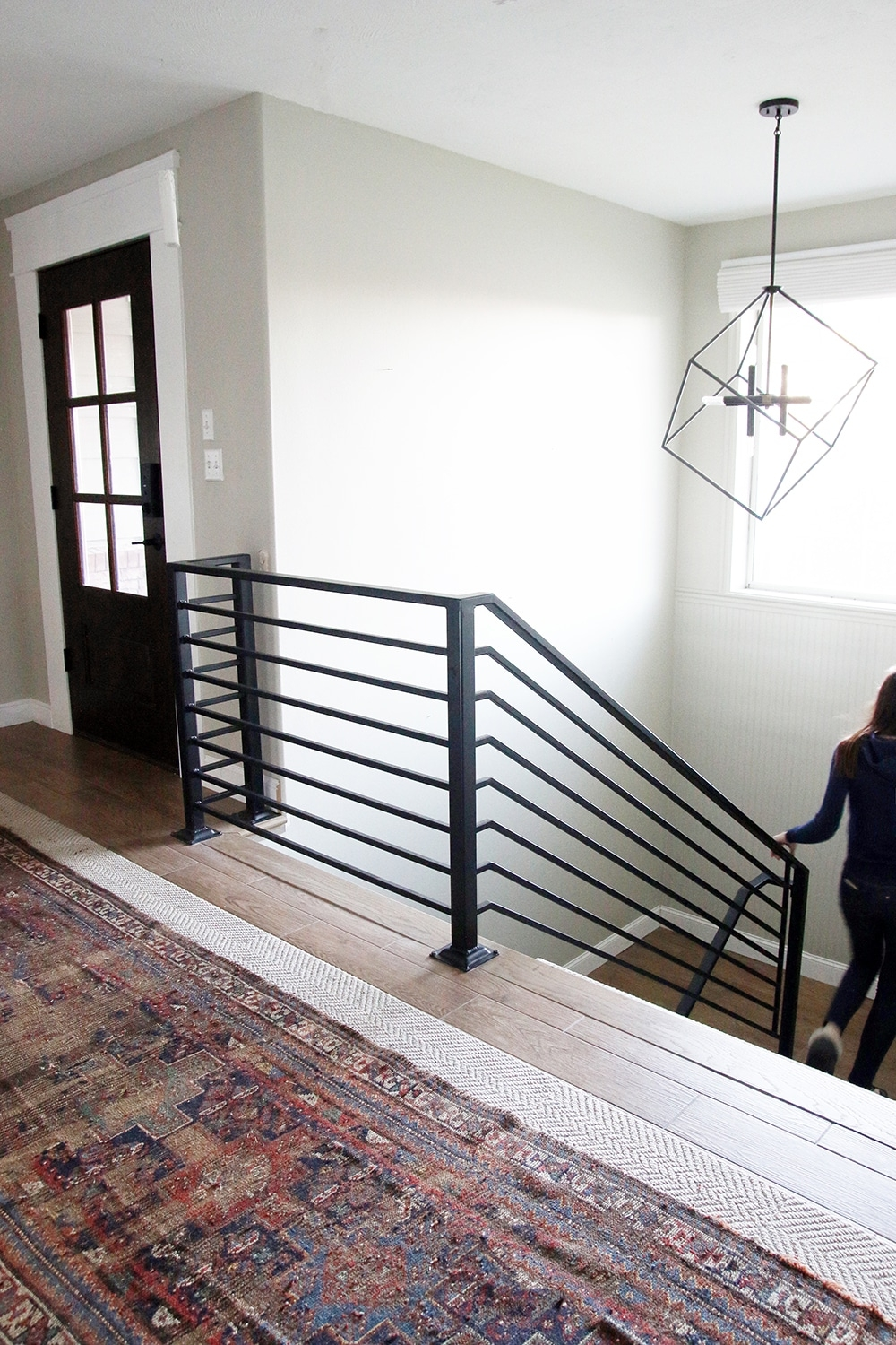 All The Details On Our New Horizontal Stair Railing Chris Loves   Horizontal Wood Stair Railing   Wrought Iron   Cherry Wood   Steampunk   Rustic   Wooden