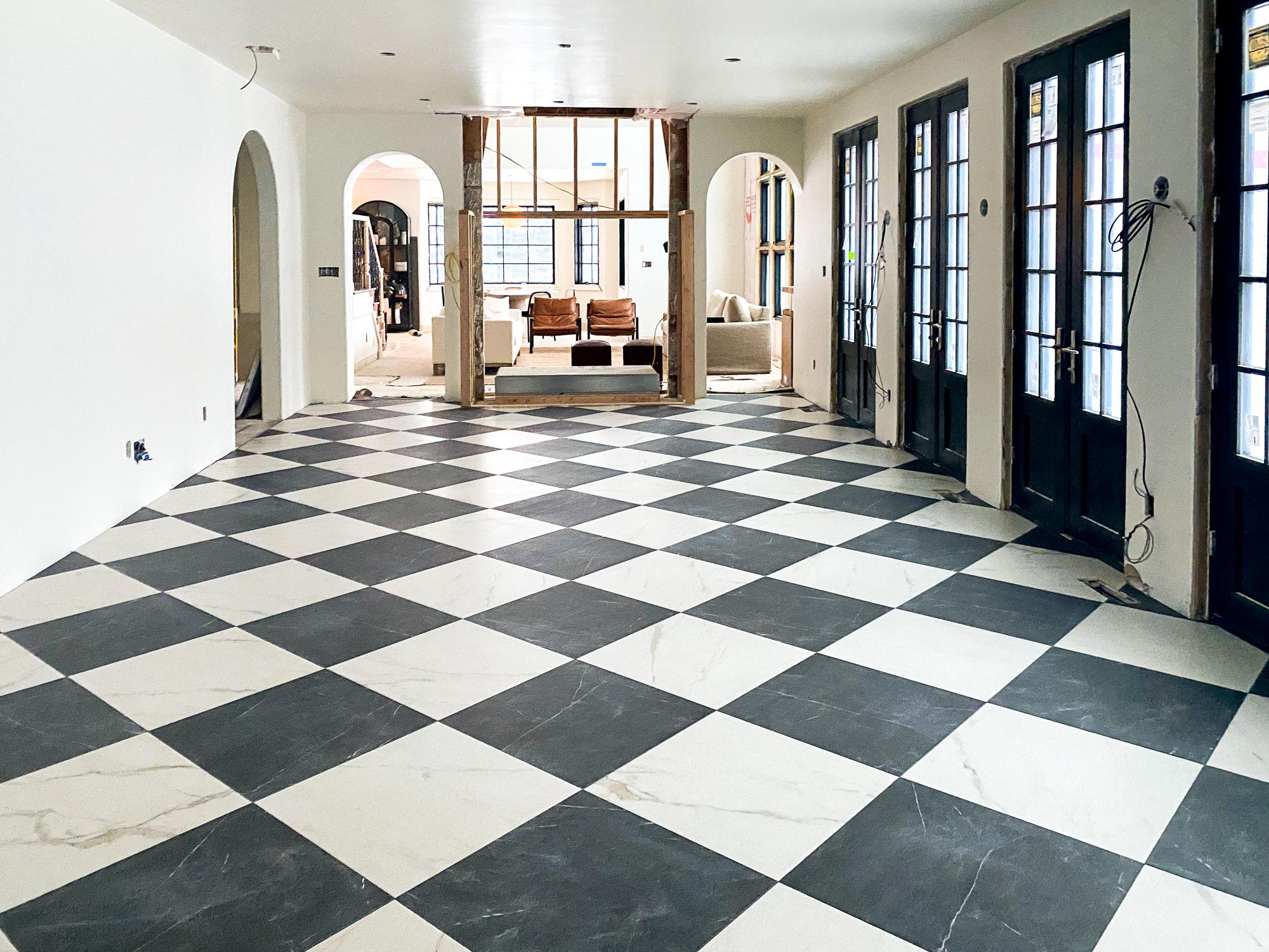 stone checkerboard floors