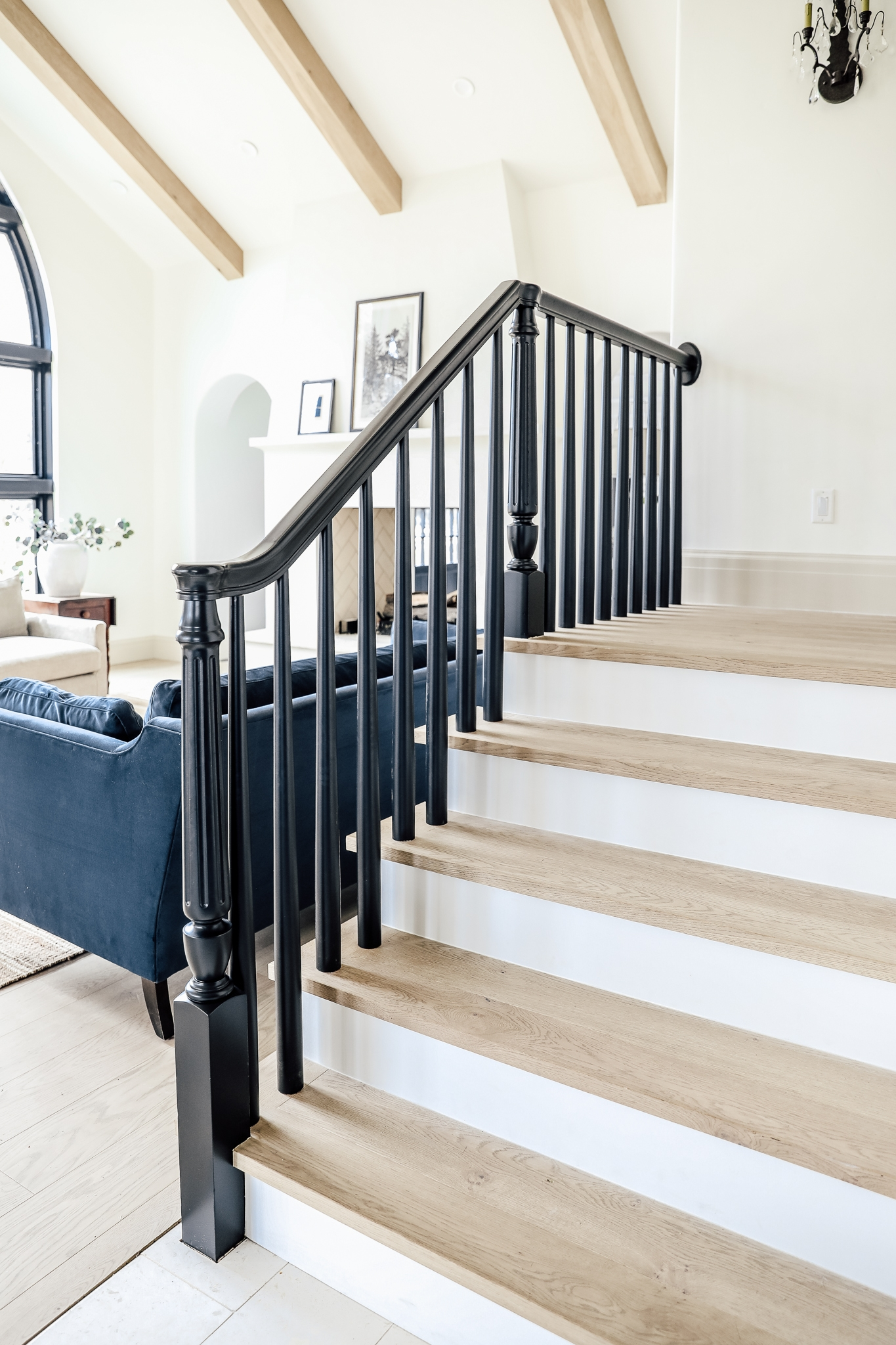 How We Completely Updated Our Stair Railings By Only Swapping Out | Stair Posts And Spindles | Stairway | Newel Post | Inexpensive | Rectangular | Railing