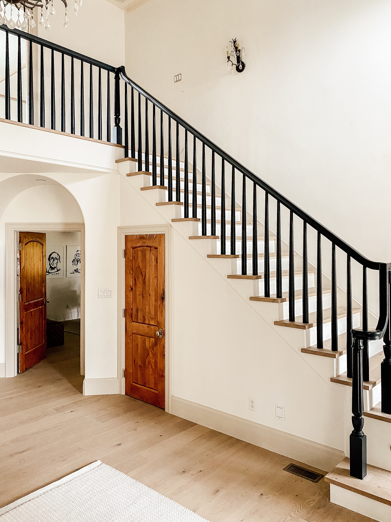How We Completely Updated Our Stair Railings By Only Swapping Out | Installing Newel Post And Spindles | Stair Parts | Staircase | Stair Banister | Iron Stair | Wrought Iron Spindles